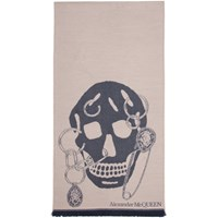 Alexander Mcqueen Pink And Blue Chained Skull Scarf