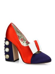 Gucci Luna Studded Block Heel Colorblock Satin Pumps Red White Blue