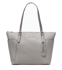 Michael Kors Jet Set Large Top Zip Leather Tote Pearl Grey