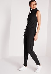 Missguided Roll Neck Skinny Rib Jumpsuit Black Black