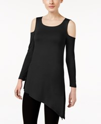 Cable And Gauge Asymmetrical Cold Shoulder Top Jet Black