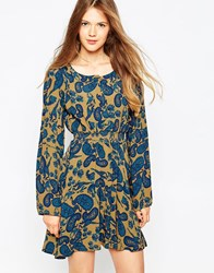 Ivana Helsinki Long Sleeeve Floral Skater Dress Navy