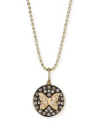 Sydney Evan Butterfly Medallion Necklace With Diamonds Yellow Gold