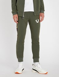 True Religion Camouflage Panel Cotton Jersey Jogging Bottoms Military Green