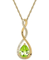 Macy's Peridot 1 3 4 Ct. T.W. And Diamond 1 10 Ct. T.W. Birthstone Pendant Necklace In 14K Gold Green