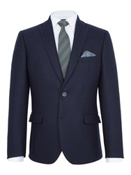 Paul Costelloe Barnes Textured Wool Slim Fit Blazer Navy