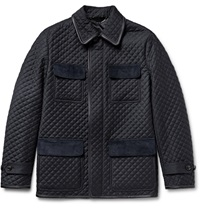 Brioni Leather Trimmed Quilted Checked Wool Field Jacket Blue