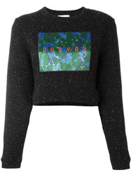 Carven Patch Flocked Cropped Pullover Black