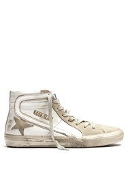 Golden Goose Slide High Top Leather Trainers White