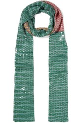 Missoni Sequined Striped Crochet Knit Scarf Green