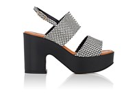 Robert Clergerie Women's Emple Leather Platform Sandals Black White Black White