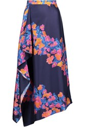 Tanya Taylor Asymmetric Printed Silk Twill Midi Skirt Multi