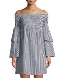 Romeo And Juliet Couture Striped Off The Shoulder Bell Sleeve Dress Black
