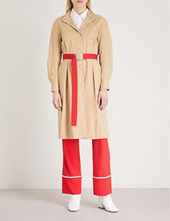 Moandco. Belted Cotton Shirt Dress Prairie Sand