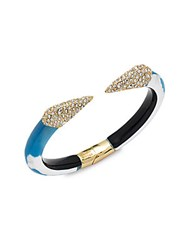 Alexis Bittar Lucite Crystal And 10K Gold Plated Hinged Bracelet Blue Opal