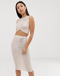 Club L Sparkle Crop Top Co Ord In Mink Beige