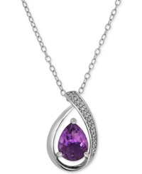 Macy's Amethyst 1 3 8 Ct. T.W. And Diamond Accent Teardrop Pendant Necklace In Sterling Silver
