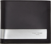 Givenchy Black And Silver Leather Bifold Wallet