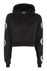 Topshop Sequin Astro Cropped Hoodie By Kuccia Black