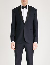 Sandro Slim Fit Wool Jacquard Tuxedo Jacket Marine