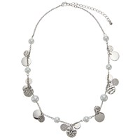 John Lewis Faux Pearl And Disc Charm Chain Necklace Silver