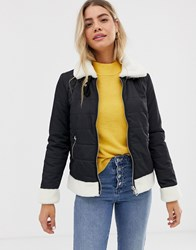Urban Bliss Gracie Padded Jacket With Shearling Trim Black