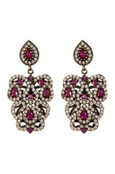 18K Yellow Gold Plated Sterling Silver Cz And Ruby Antique Look Drop Earrings Red