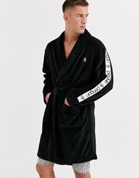 Penguin Fleece Robe In Lback With Coral Taping Black