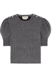 Alexander Mcqueen Cropped Crystal Embellished Wool Blend Sweater Gray