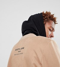 Sixth June Logo Bomber In Stone Faux Suede Exclusive To Asos