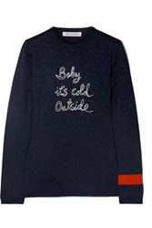 Bella Freud Baby It's Cold Outside Embroidered Metallic Wool Blend Sweater Navy
