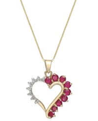 Macy's Ruby 3 4 Ct. T.W. And Diamond Accent Heart Pendant Necklace In 14K Gold