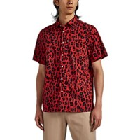 Ovadia And Sons Leopard Print Cotton Camp Shirt Red