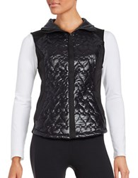 Betsey Johnson Quilted Heart Puffer Vest Black