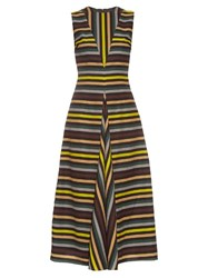 Emilia Wickstead Milly Striped Cloque Midi Dress Multi