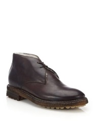 Ralph Lauren Zackery Shearling Lined Leather Chukka Boots Dark Brown