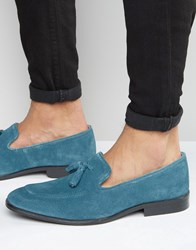 Asos Loafers In Blue Suede With Tassel Blue