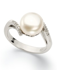 Macy's Sterling Silver Ring Cultured Freshwater Pearl And Diamond Accent Swirl Ring