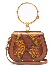 Chloe Nile Small Python Effect Cross Body Bag Tan