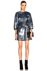 Suno Pleats Cinched Short Dress In Blue Floral Metallics Blue Floral Metallics