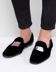 Asos Loafers In Black Velvet With Flag And Eagle Embroidery Black