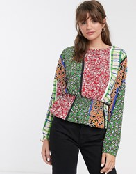 Glamorous Blouse With Shirred Waist In Retro Patchwork Multi