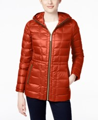 Michael Kors Hooded Packable Down Puffer Coat Only At Macy's Red