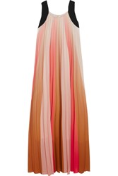 Maje Pleated Ombre Crepe De Chine Maxi Dress Coral