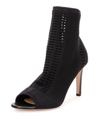 Gianvito Rossi Vires Knit Open Toe 85Mm Bootie Black