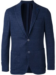 Lardini Woven Blazer Men Cotton Linen Flax Polyester 52 Blue