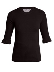 Red Valentino Fluted Cuff Cashmere And Silk Blend Sweater Black