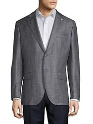 Lubiam Glen Plaid Wool Sportcoat Light Grey