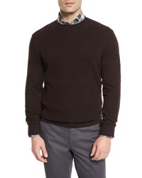 Ermenegildo Zegna Silk Blend Crewneck Sweatshirt W Leather Elbow Patches Wine