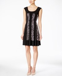 Connected Petite Geo Print Fit And Flare Dress Black
